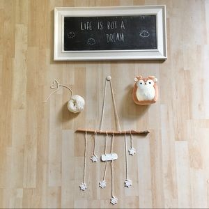 Handmade wall hanging clay wood cotton stars white